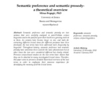 Semantic preference and semantic prosody-a theoretical overview